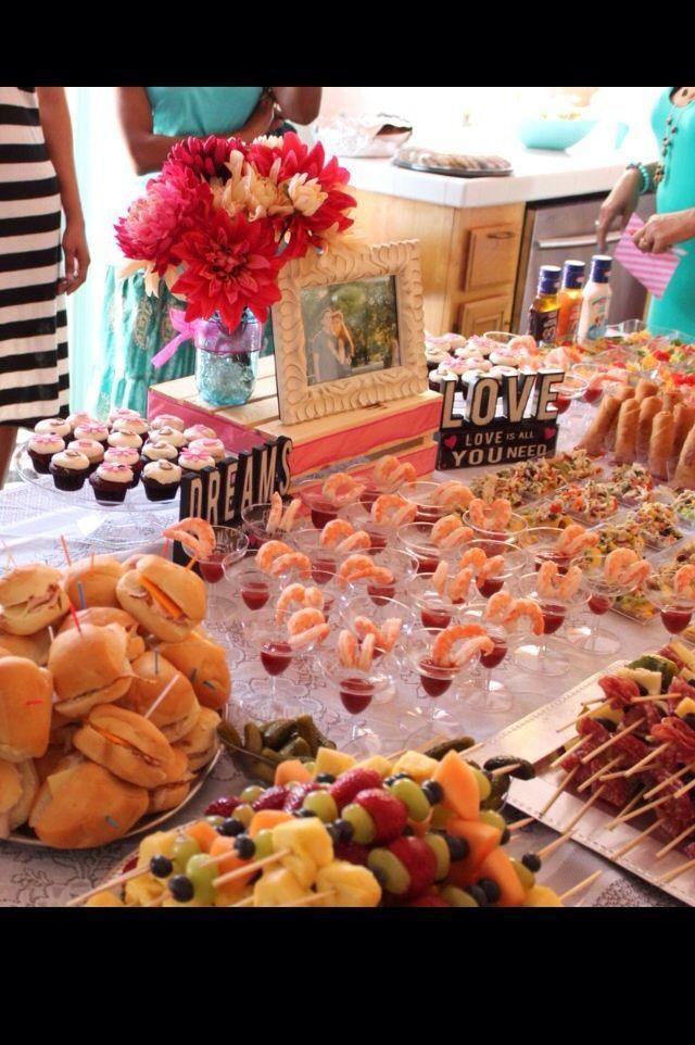 ideas for bridal shower brunch food%0A   Gossip Girl   Inspired Bridal Shower  Part     Food displays  Caprese  skewers and Turkey salad