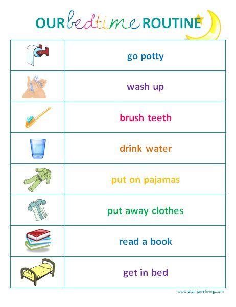 Image result for free morning routine printables CHARTS FOR KIDS - sample timeline for kids