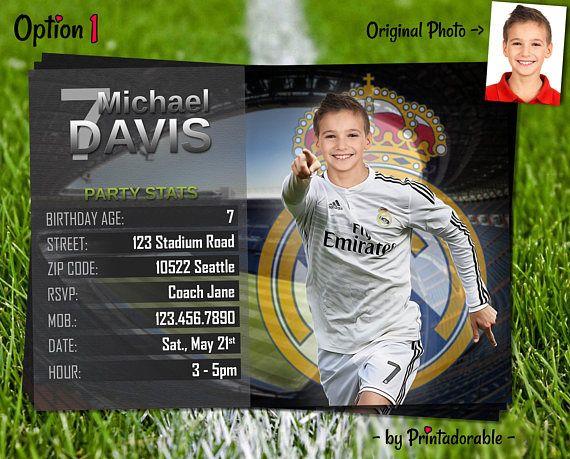 Invitacion Digital De Real Madrid Para Cumpleaños