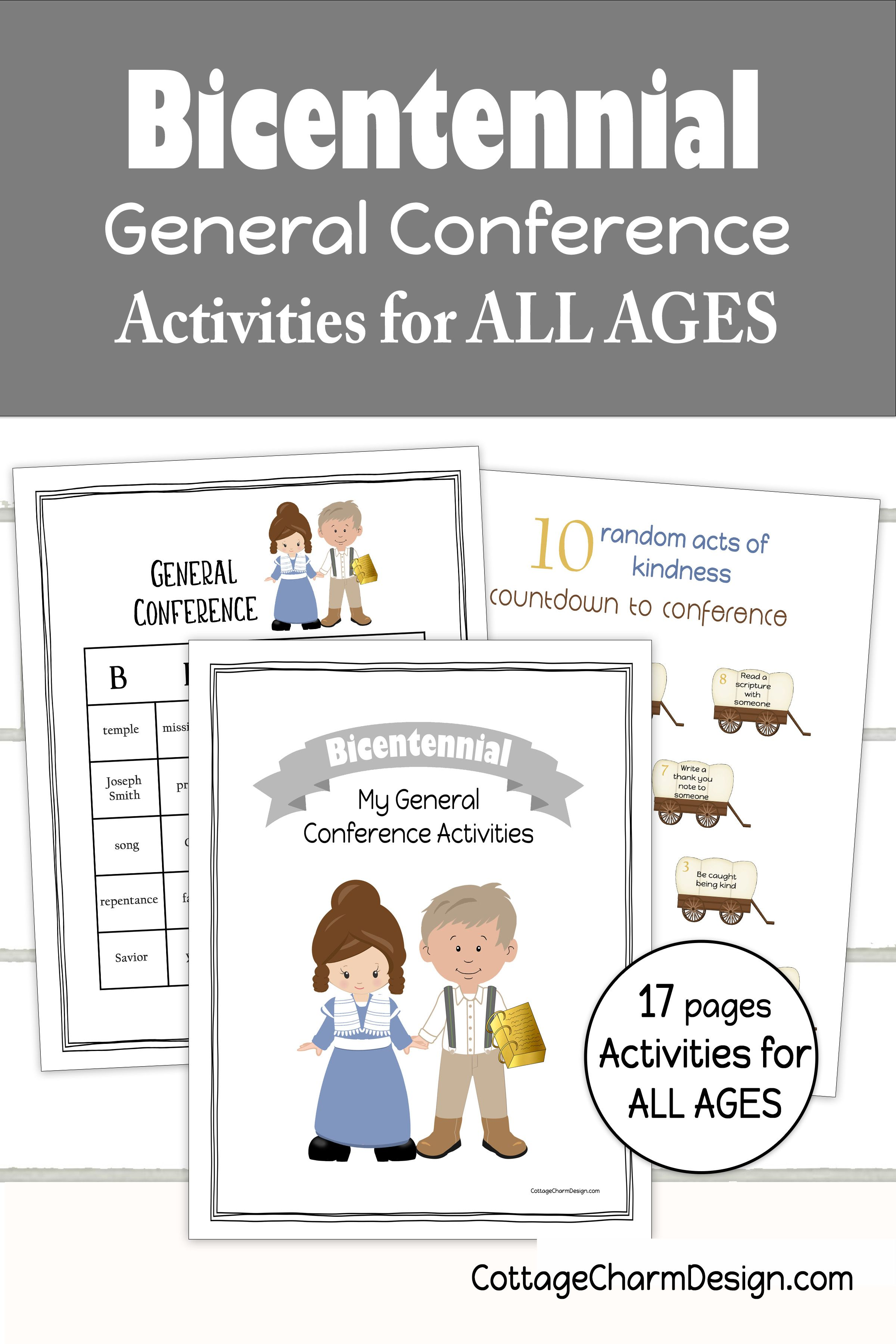 Bicentennial Conference Packet For Kids In 2020 General Conference Activities For Kids General Conference Activities Lds Conference Activities