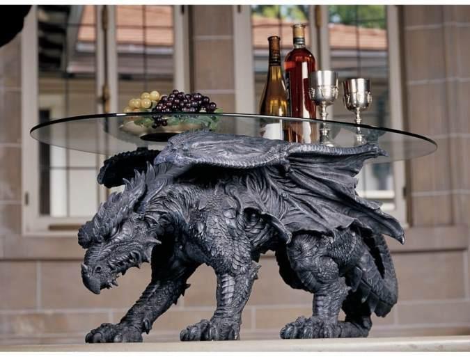 Nice Design Toscano Warwickshire Dragon Glass Topped Coffee Table: Kneeling Dragon  Table With Glass # 93039