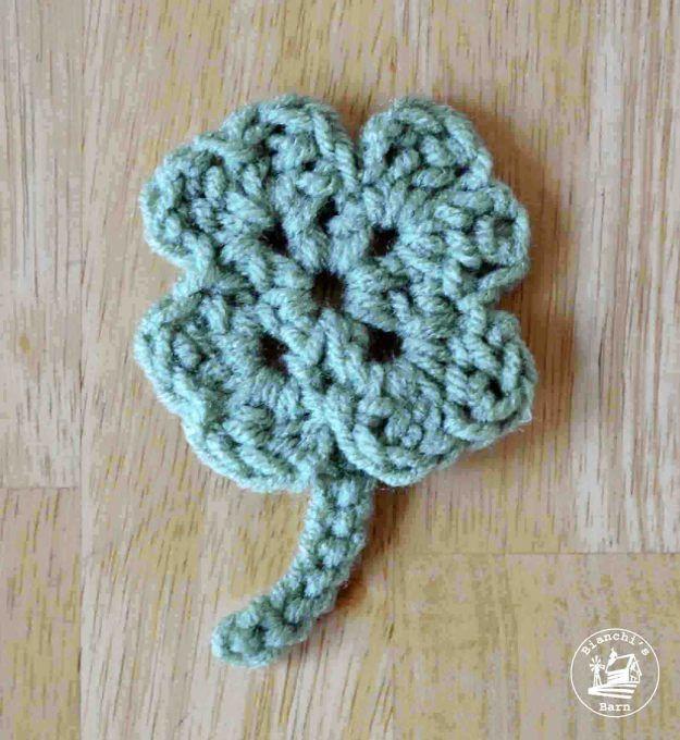 Lucky 4 Leaf Clover Free Crochet Pattern | Ganchillo crochet y Ganchillo