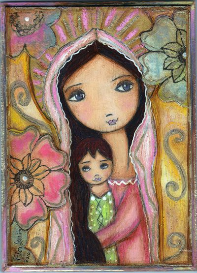 Young Madonna with Child and Flowers by Flor Larios Art Print