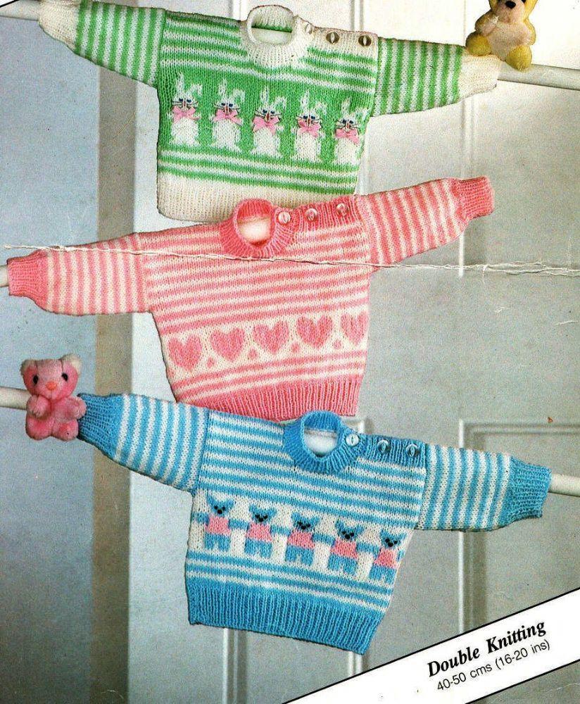 """Baby Toddler Duck Motif Sweater  20/"""" 26/"""" 1-7 Years DK Knitting Pattern"""