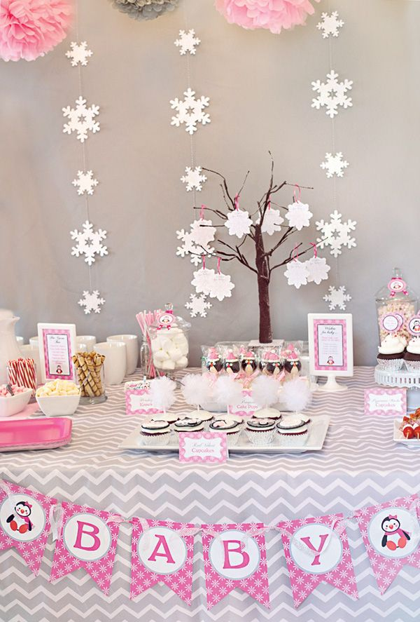 Cozy Pink Penguin Winter Wonderland Baby Shower Snowflake