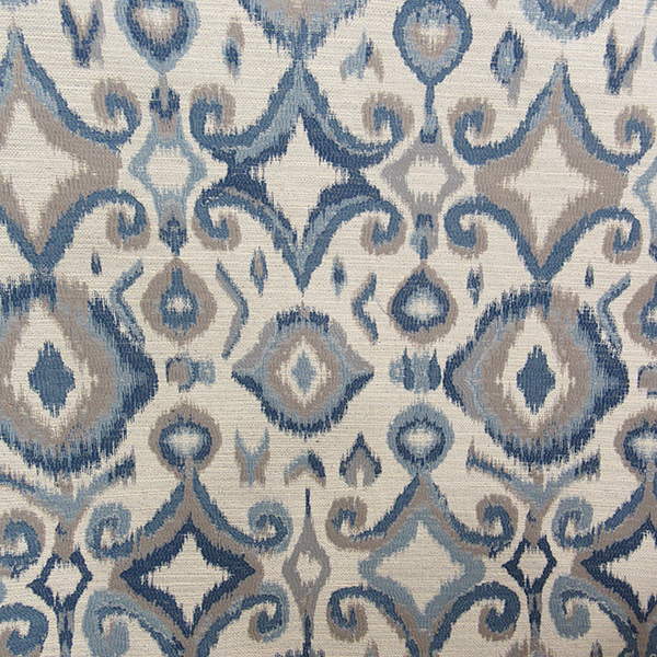 This Is A Blue And Gray Woven Ikat Design Upholstery Fabric By