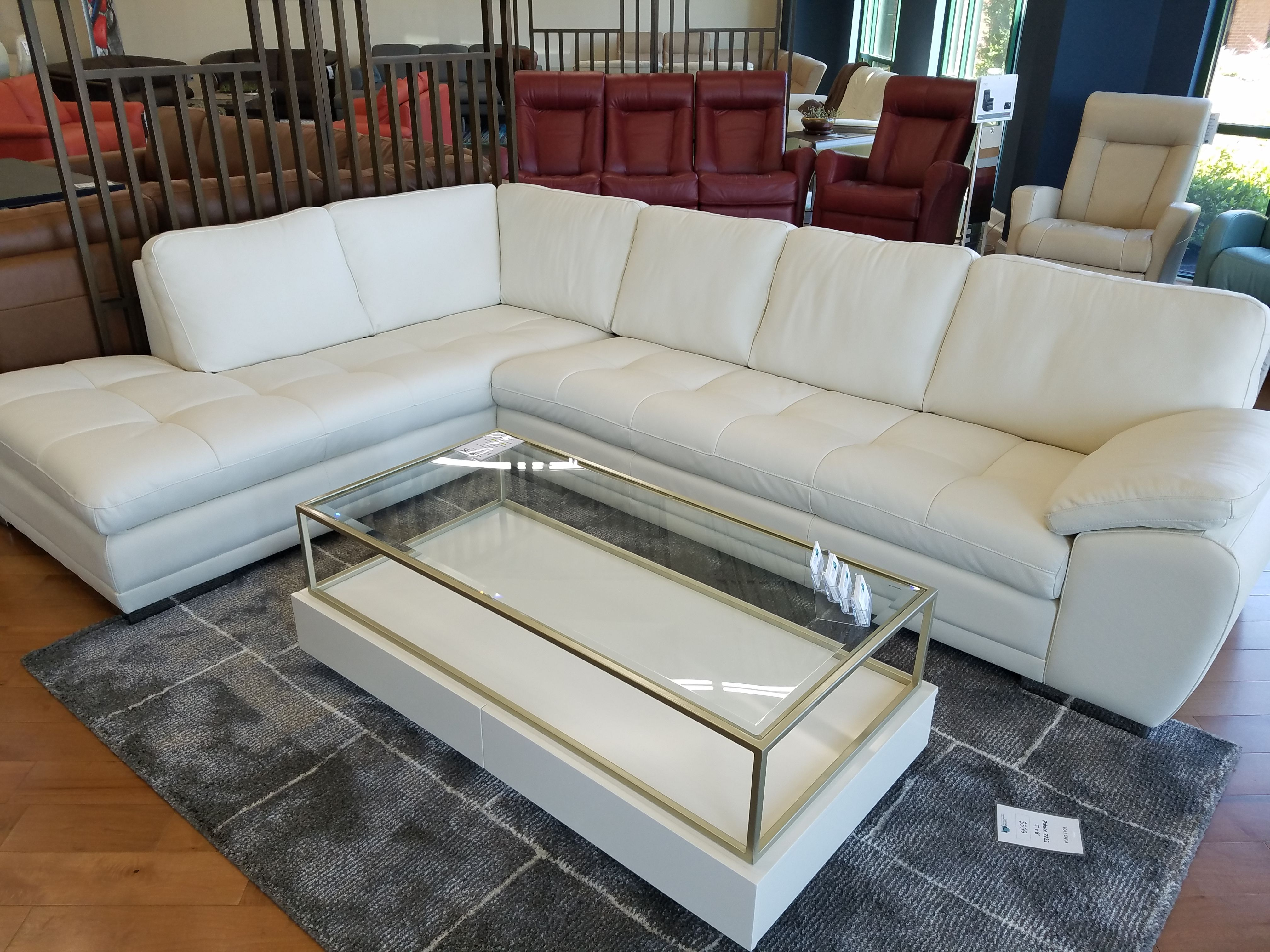 Palliser Miami Sectional LHF Chaise Bumper and RHF Sofa Leather ...