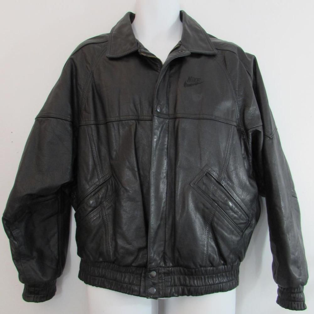 40540969d846 90 s Nike Flight 100% Black Leather Bomber Jacket Lined Full Zipper sz  Medium  Nike  FlightBomber