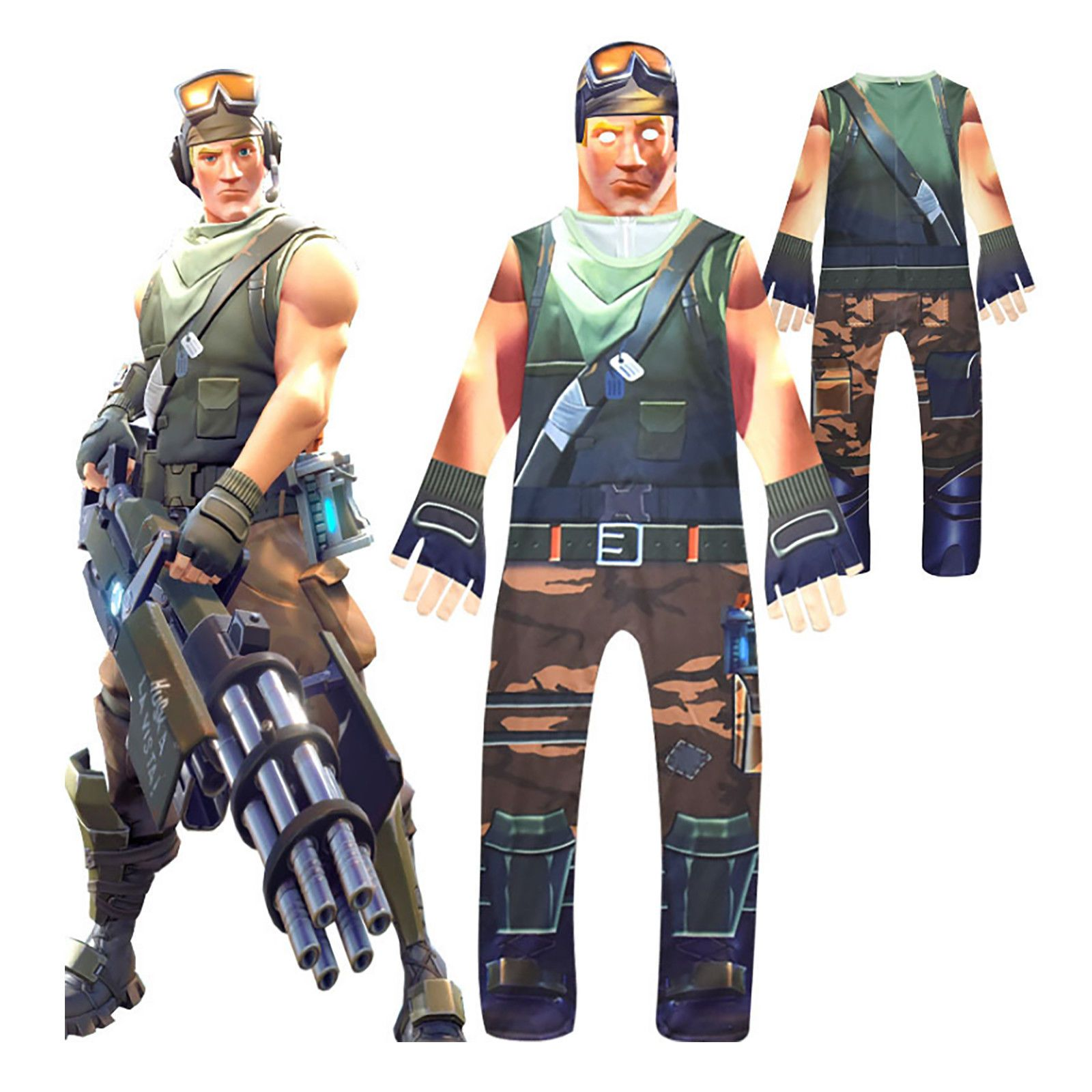 407a12d89dc Adults Kids Fortnite Costume Halloween Fancy Dress Cosplay Jumpsuit Prop  Outfits