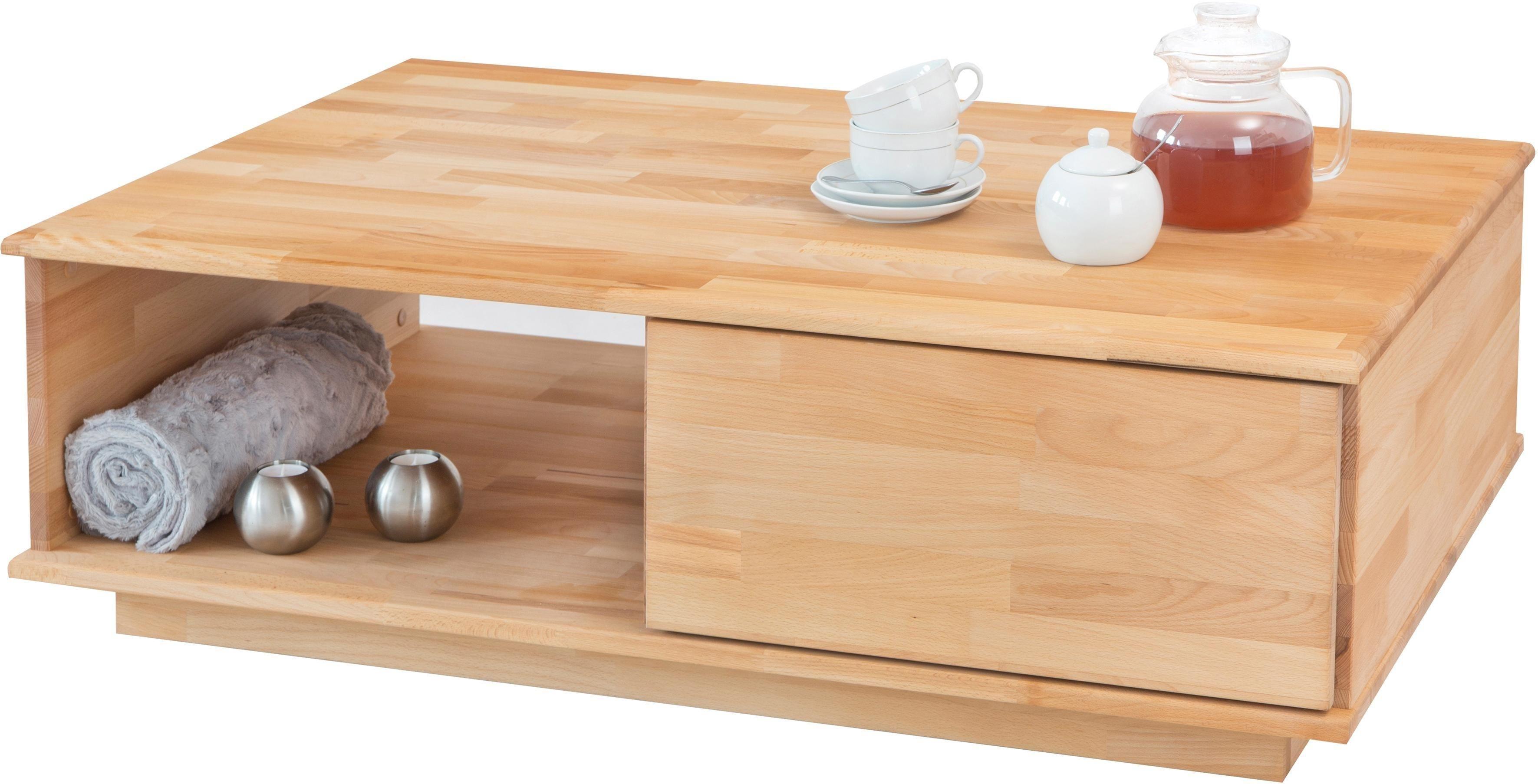 Couch Tisch,Kiefer,Schublade u. Glasplatte