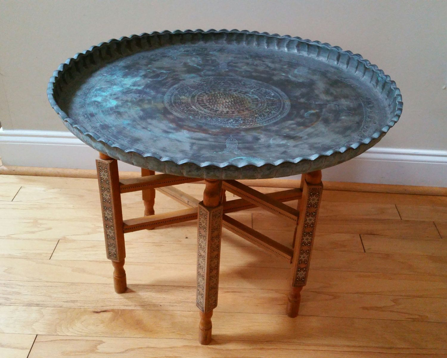 Vintage Ornate Round Etched Brass Tray Table Coffee Table With Patina Brass Tray Table Coffee Table Table [ 1199 x 1500 Pixel ]