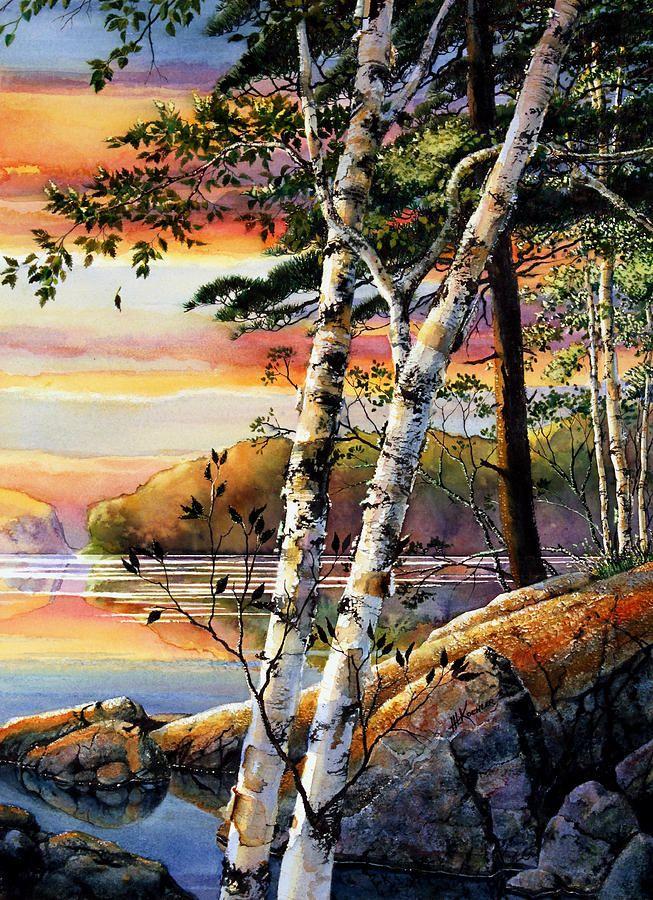 Muskoka Summer Sunset ~ by Hanne Lore Koehler ~ watercolor