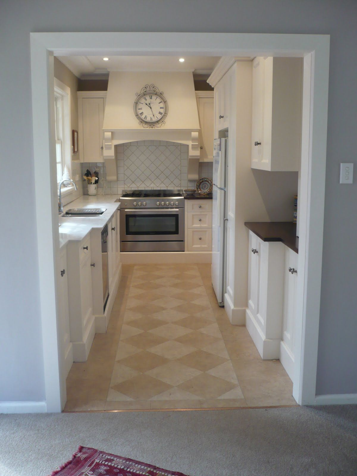 Narrow Galley Kitchen Blue White Tan Kitchen Beautiful Home Remodel