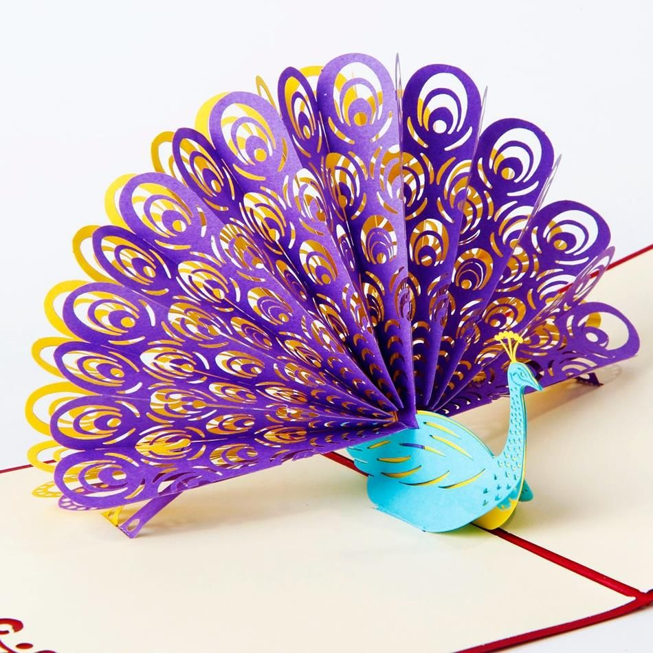 Amazing Cool 3D Pop Up Cards Custom Greeting Peacock In Red For Birthday Personalised Free Shipping