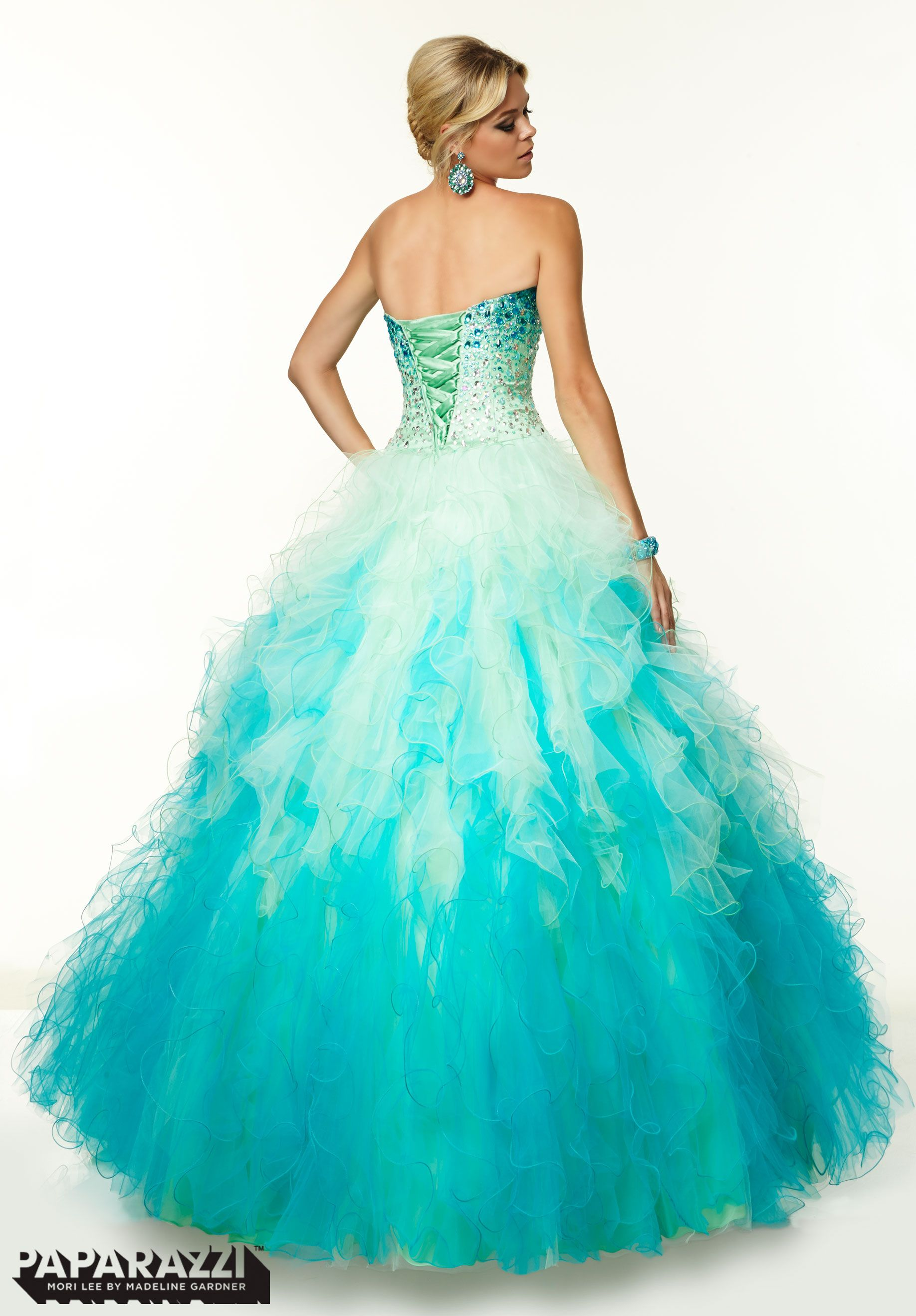 97021 Prom Dresses / Gowns Ombre Ruffled Tulle with Jeweled Ombre ...