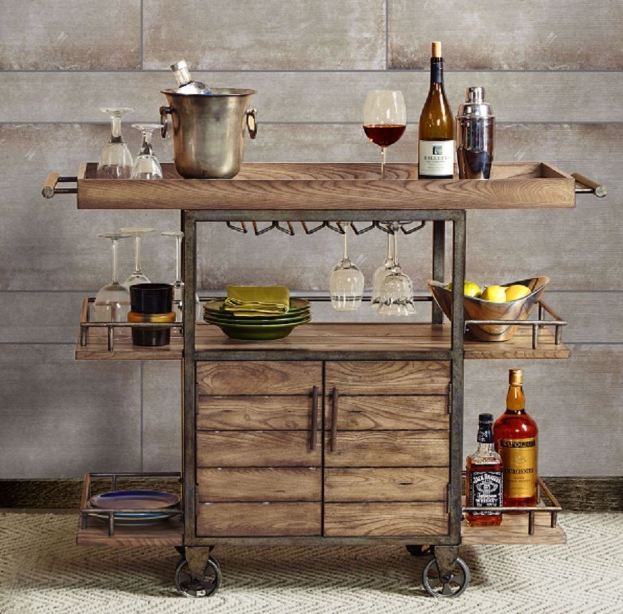 Rustic Bar Cart Portable Serving Tray Wine Beverage Drink
