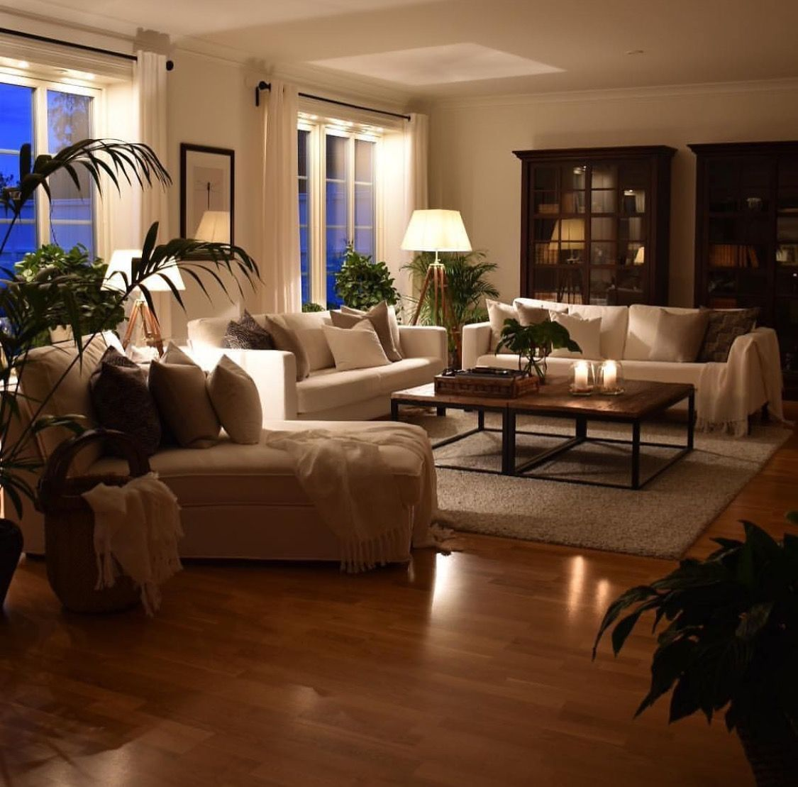 Create a cozy ambiance in the home with lighting warm blankets soft fabrics and lots of plants