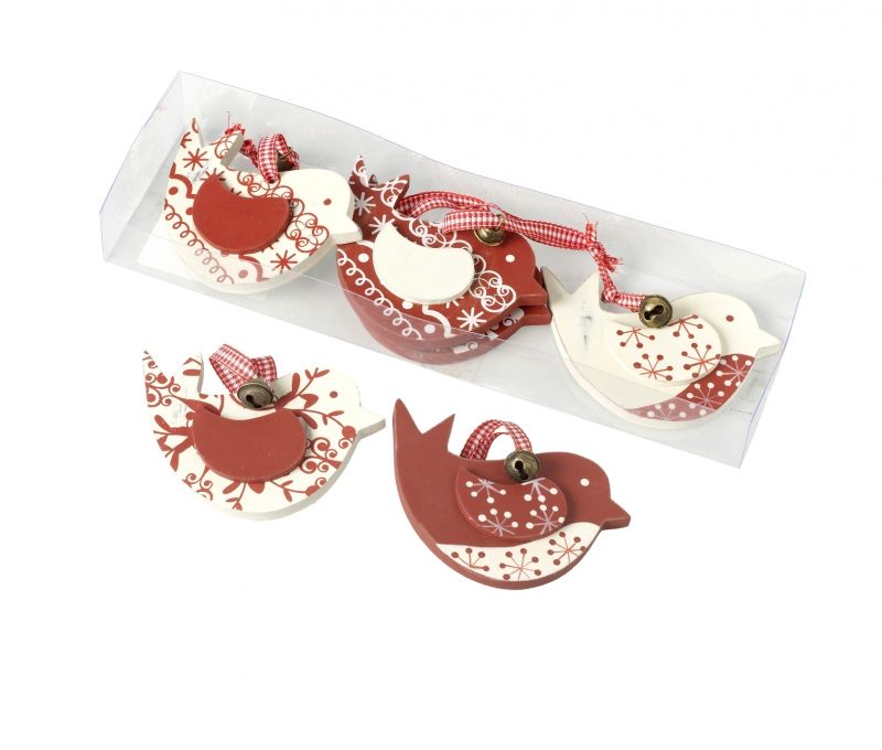 FESTIVE Wooden Birds - Pack of 6 Wooden hanging Christmas decorations in a combination of red and cream patterns. Each bird has its own ribbon and bell. Perfect to hang on your tree, door handles, window handles...anywhere you can find a spot!