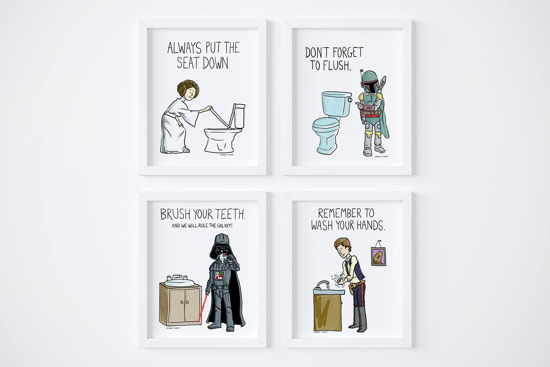 Printable Star Wars Kids Bathroom Rules Wash Your Hands Set Of 4