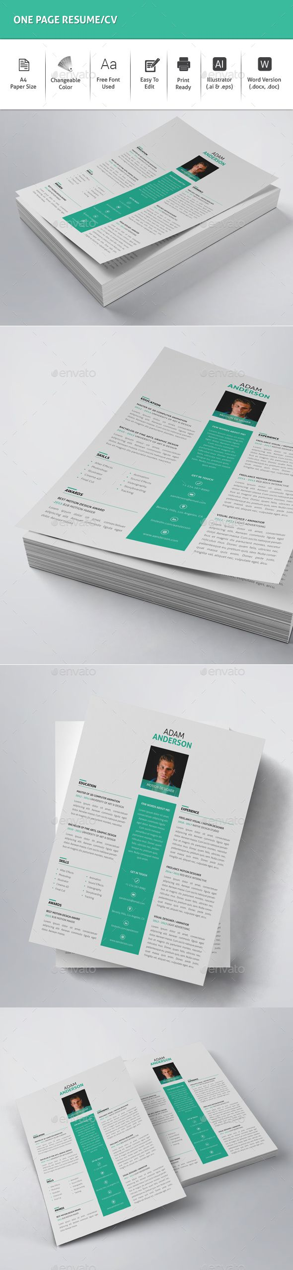 One Page ResumeCv  Resume Cv Cv Template And Template