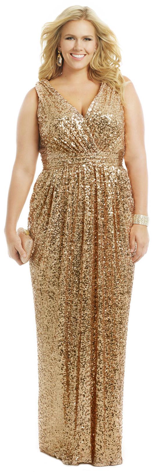 Straps v neck sequin gold long bridesmaid dress plus size formal