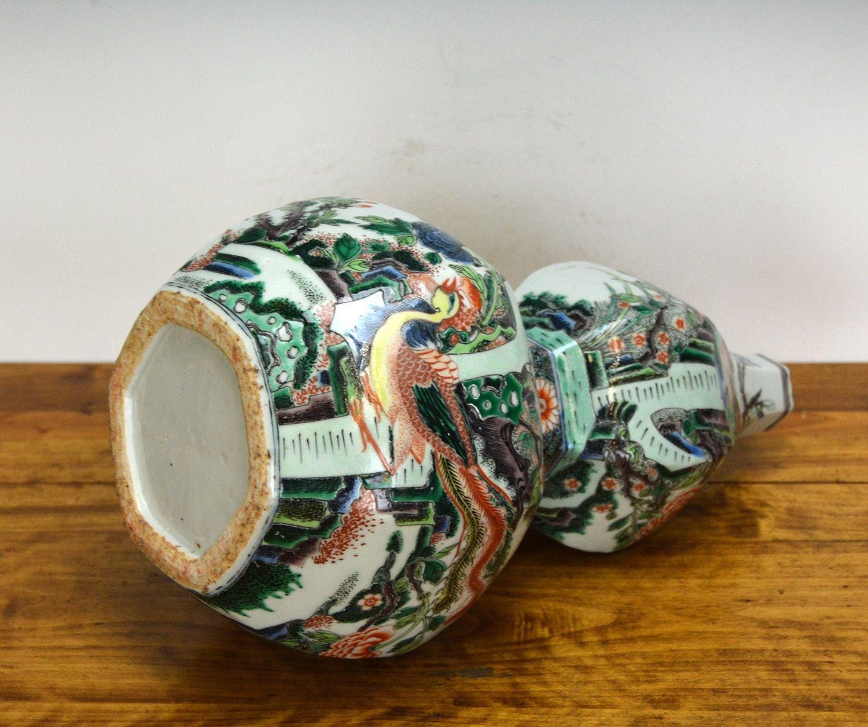 RARE Chinese Qing Kangxi Famille Verte Phoenix Double Gourd Porcelain Vase | eBay