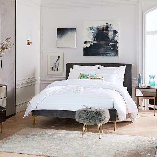 Deco Upholstered Bed, Queen, Worn Velvet, Light Taupe, Dark Pewter