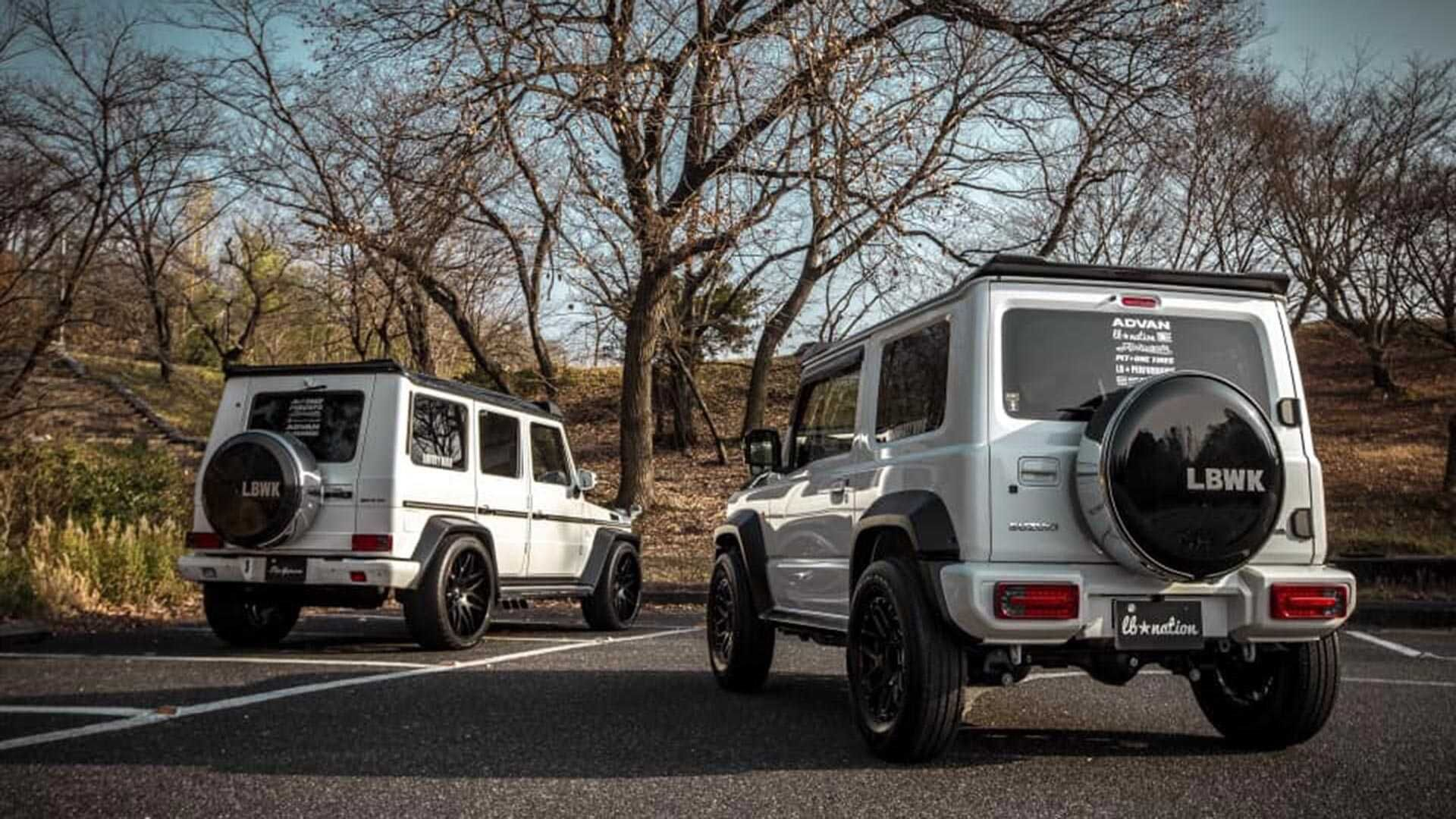 Tuned Suzuki Jimny G Class Lookalike Meets The Real Thing Mercedes Benz G