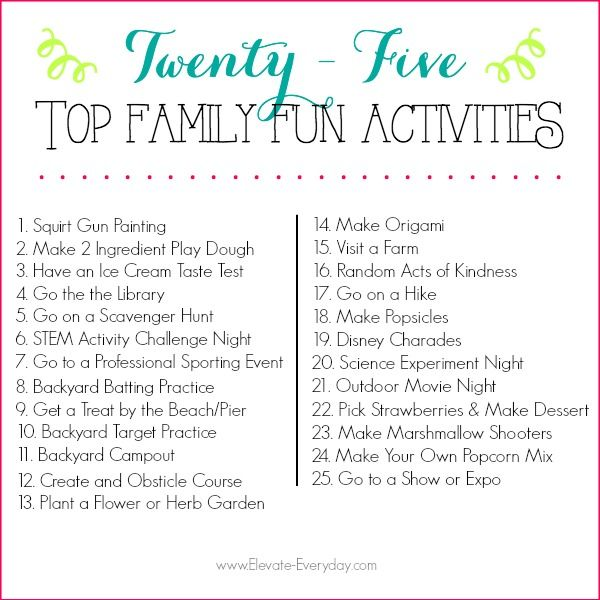 Family Activities: This List Of 25 Family Activities Will Keep Your Kiddos