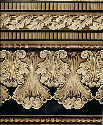 Victorian Architectural Golden Beige Shell On Black WALLPAPER BORDER For USD400 Home
