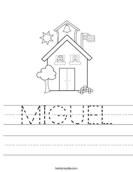 MIGUEL Worksheet - Twisty Noodle in 2020 | Preschool names ...