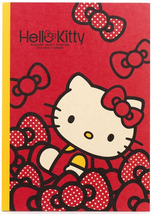 red Hello Kitty notebook exercise book with kawaii bows