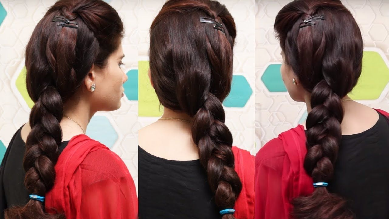 Indian Traditional Hairstyle For Girls Easy Braid Hairstyle For Long H Braided Hairstyles Easy Braids Girls Hairstyles Easy