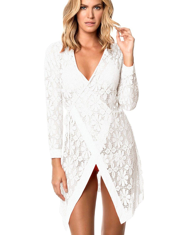 a221eb97c8 Women's Fashion Swimwear Crochet Tunic Beach Dress Bikini Cover Up Net -  White - C718C564W60,Women's Clothing, Swimsuits & Cover Ups, Cover-Ups # women ...