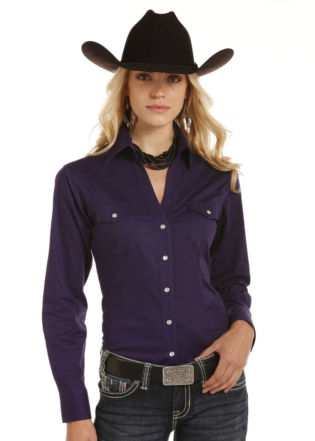 panhandle slim women's solid plum snap up western shirt