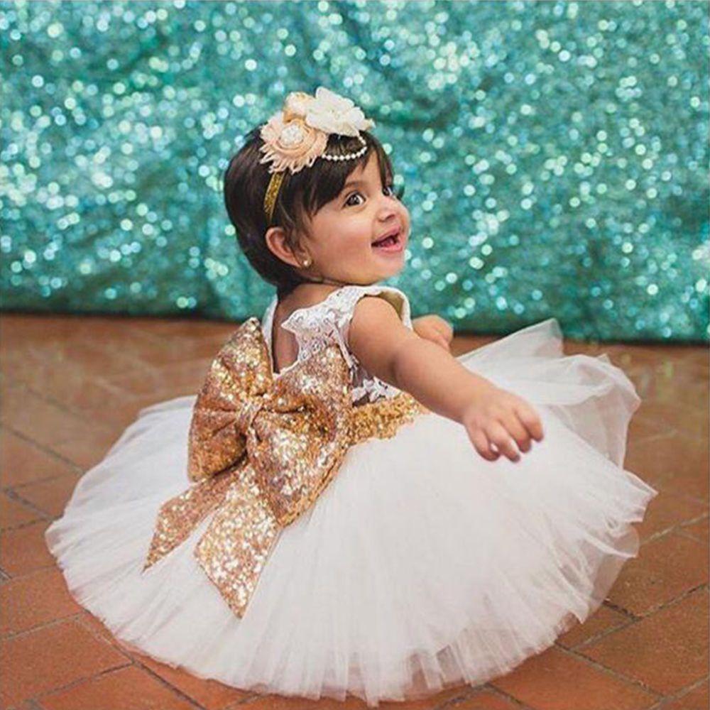 ce8ca0b73ada Lace Flower Girls Kids Baby Sequins Tutu Dress Birthday Princess ...
