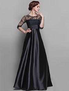 5b2a4e719a Vestido largo de encaje con escote estilo marinero de color liso de ...