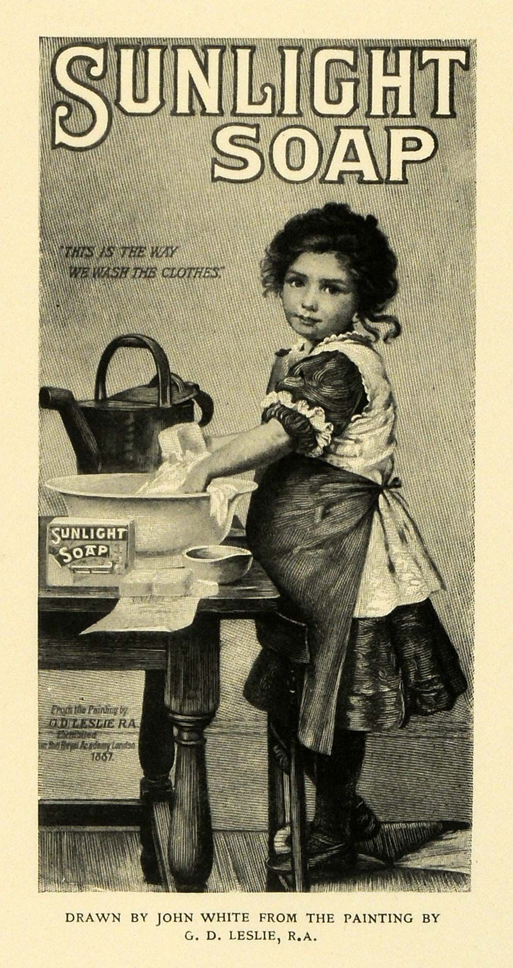 Leslie Sunlight Soap Poster Ad Victorian Child Washing ...