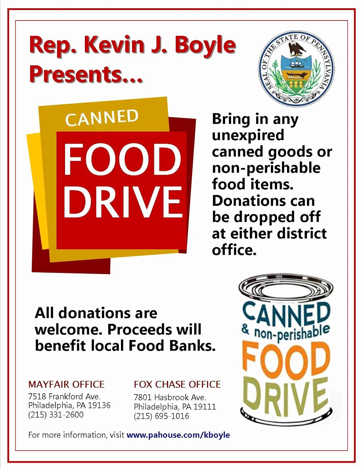 Canned Food Drive Flyer New Mayfair Civic association