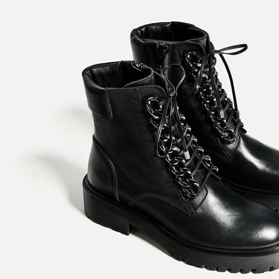 BOOTS Zara Image LEATHER from 5 CHAIN of DETAIL ANKLE EDWH92IY