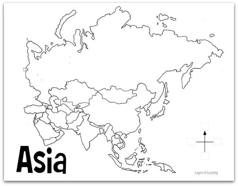Physical Map Of Asia Black And White