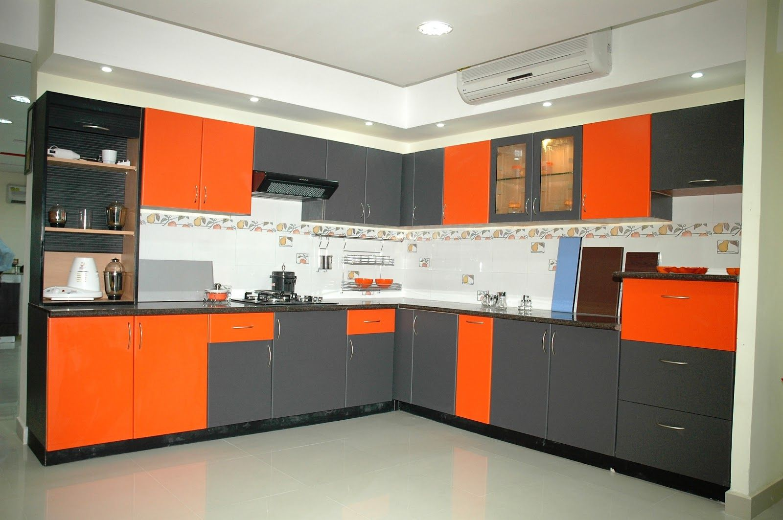Innovative Small Modular Kitchen Decor Inspirations Exquisite Lshaped With Two Toned Grey And Orange Cabinets Also White