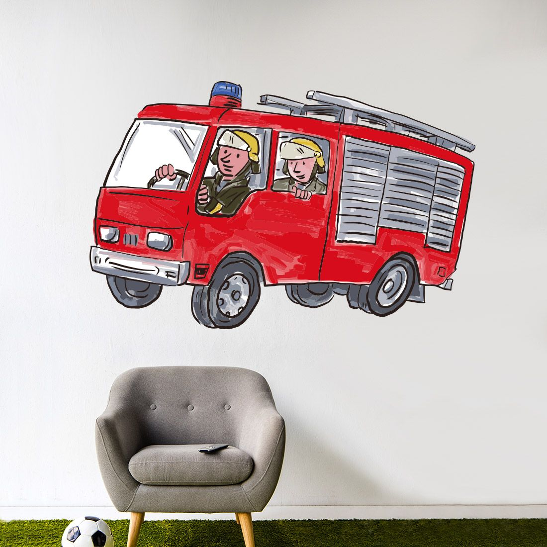 Muursticker Brandweerauto Kinderkamer 9 95 Gratis Verzending Muurstickers Brandweerauto Voertuigen