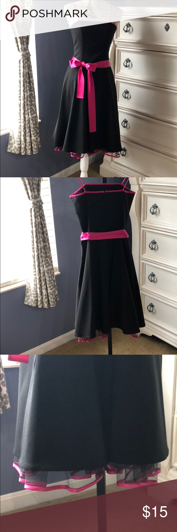 Adorable Black And Pink Dress Black Mid Length Dress With Hot Pink Trim And Satin Belt Netting Under S Black And Pink Dress Outfit Inspiration Fall Dresses [ 1740 x 580 Pixel ]