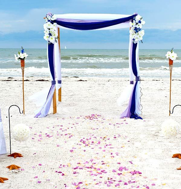 Beach Wedding Ceremony Playlist: Gulf Beach Wedding. Starfish-Aisle-Way---Blue-&-White