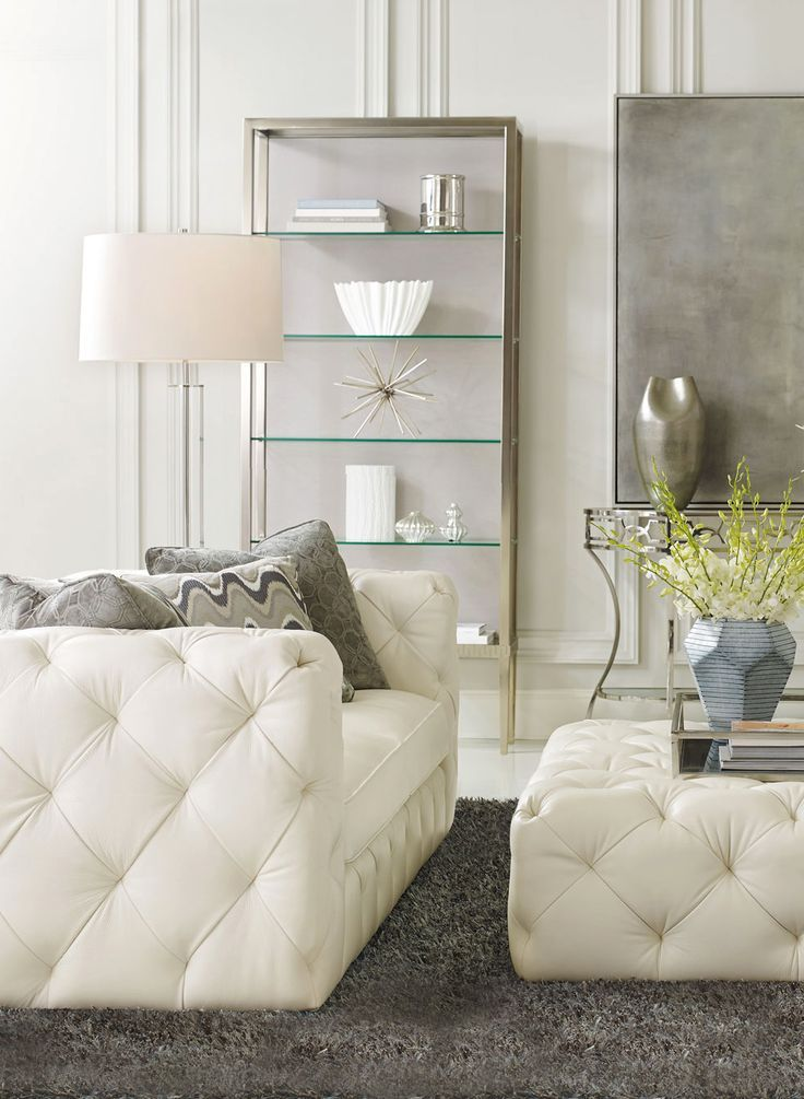 We love this bernhardt chelsea sofa and cocktail ottoman in ivory leather so elegant for Bernhardt living room furniture
