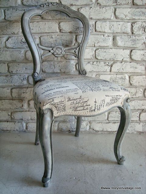 Love chairs shaped like this!ae Restyled Vintage: French Script Chair -  Beautiful effect layering techniques in French Linen and Old White Chalk  Paint® ... - Distressed Chair With A Cute Print Cushion Diy Pinterest