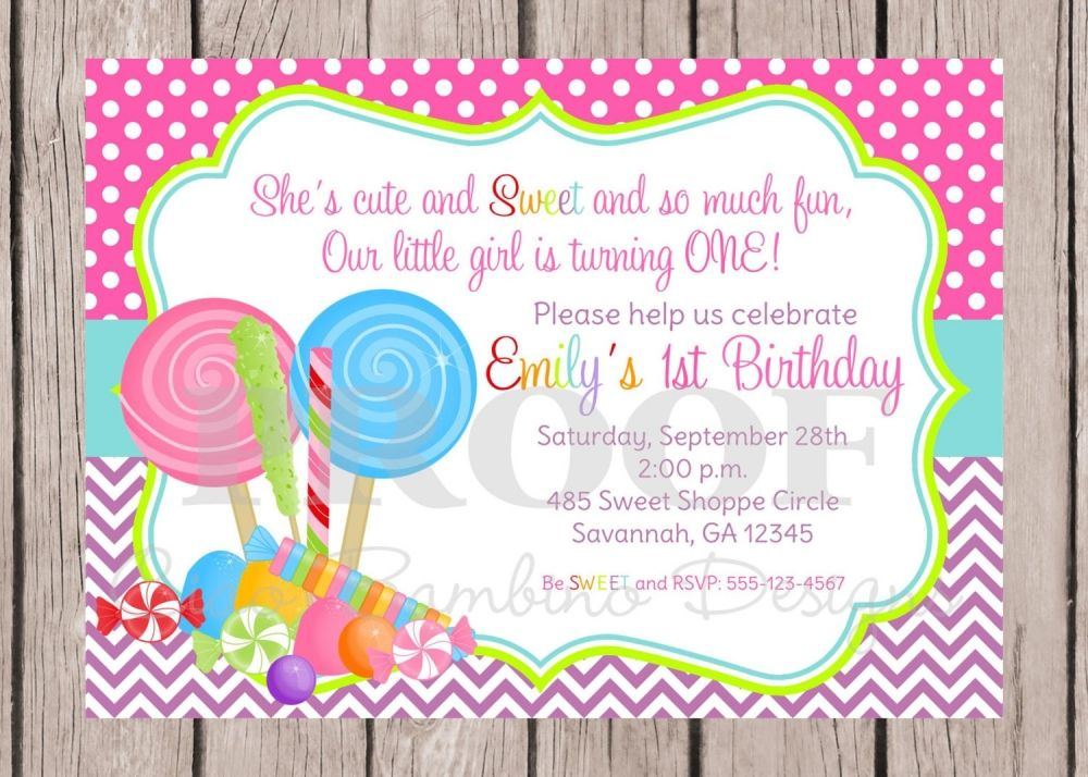 Candyland Birthday Invitation | Projects to Try | Pinterest ...