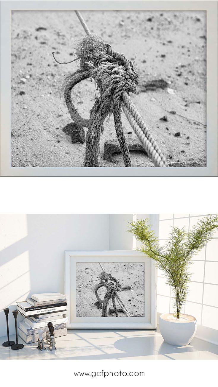 Nautical wall decor in black u white beach home decor ocean print