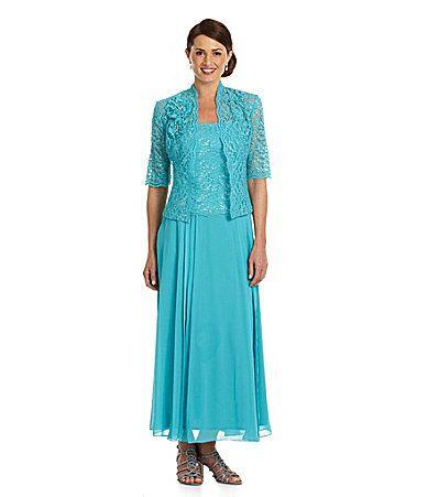 km collections 2piece metallic lace jacket dress dillards